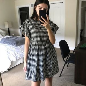 floral embroidered gingham dress